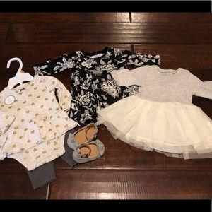 Newborn Bundle - 2 dresses, 1 outfit, shoes